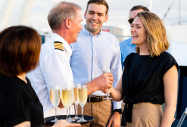 Welcoming passengers onboard the Dinner Cruise