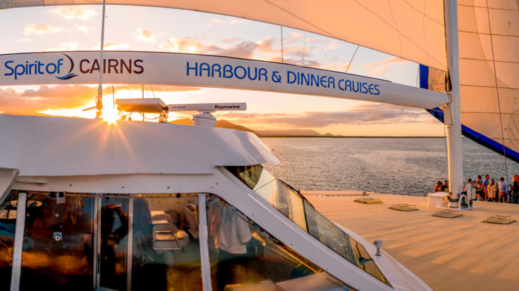 Enjoy the sunset from the Cairns Dinner Cruise