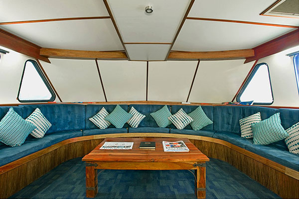 Chillax area on liveaboard dive boat