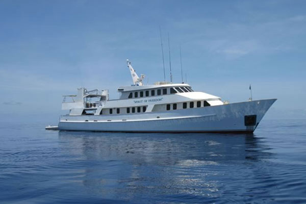 view of liveaboard dive boat on the Great Barrier Reef