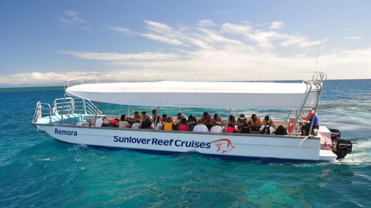Enjoy a Glass Bottom Boat tour on the Great Barrier Reef from Cairns