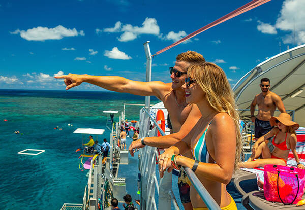 Relax on the top sundeck of the Great Barrier Reef pontoon