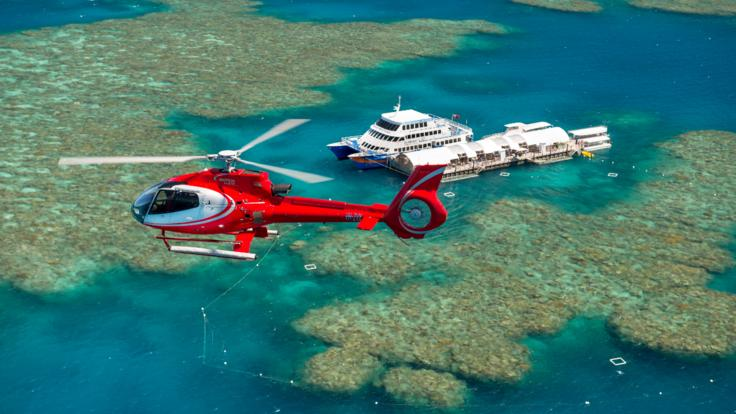Helicopter scenic flights over the Great Barrier Reef from Cairns