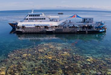 Moore Reef pontoon and spaghetti waterslide, Great Barrier Reef tour