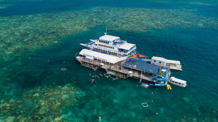 Pontoon at Moore Reef, Great Barrier Reef Tour from Cairns