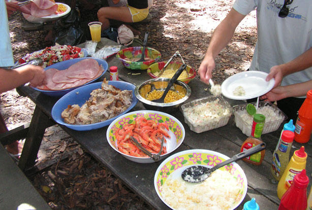 A generous picnic lunch is provided on Fraser Island.