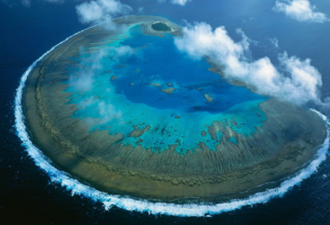 Aerial view of Lady Musgrave Island, Southern Great Barrier Reef