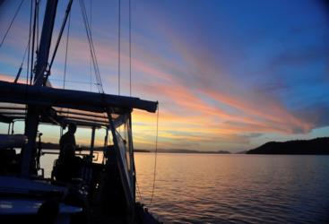 Enjoy sunset onboard your private Whitsundays Charter