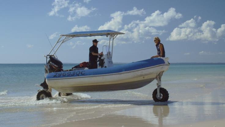 Fraser Island on inflatable boat