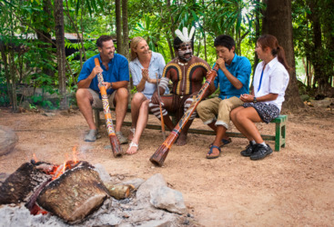 Learn to play the Digderidoo at Tjapukai Aboriginal Cultural Park, Cairns