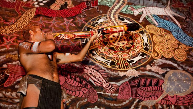 Aboriginal art work and music at Tjapukai, Cairns
