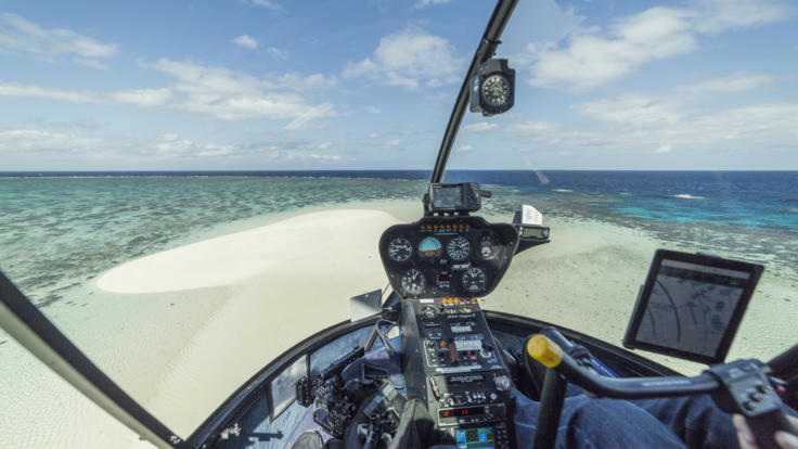Barrier Reef Australia- Helicopter landing on sand cay - Townsville