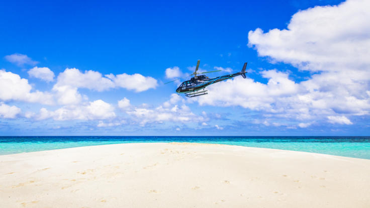 Scenic flight - Great Barrier Reef - landing Wheeler Reef sand cay