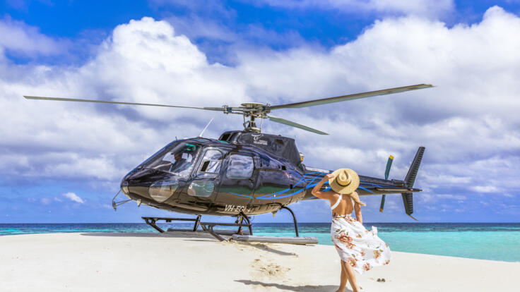 Barrier Reef Australia - Helicopter landing on sand cay from Townsville