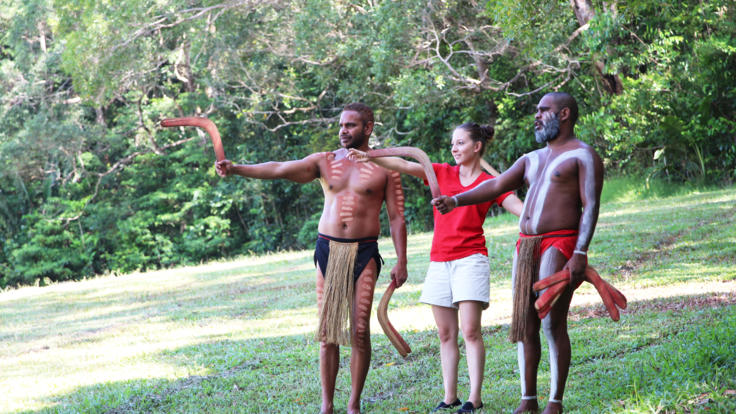 Learn to throw a boomerang with the Pamagirri people at Kuranda Rainforestation cultural park