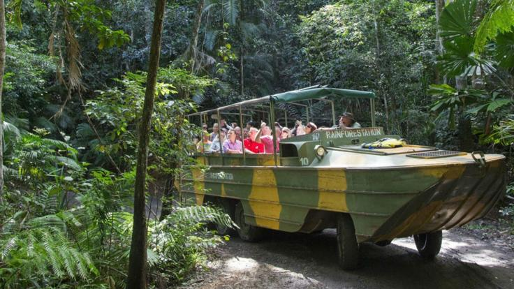 Amphibious army duck tour - one of a kind in the Kuranda Rainforest