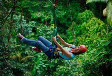 Ziplining through the rainforest