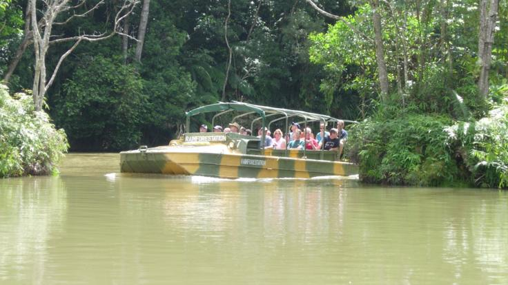 Hit the water in the Army Duck Tour In The Rainforest