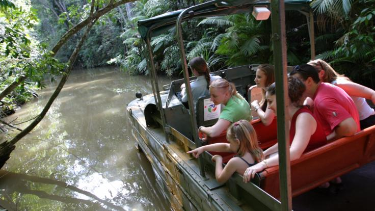See the flora and fauna on the Army Duck Tour At Rainforestation Kuranda