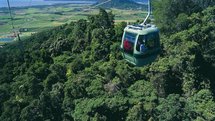 Skyrail Rainforest Cableway - aerial shot of the gondola in Cairns