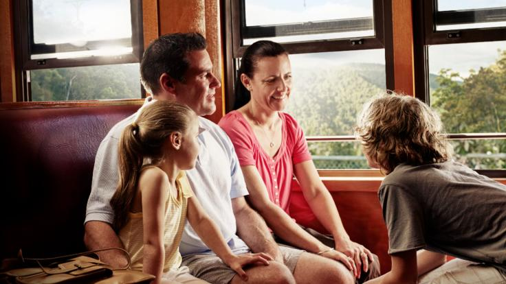 All aboard the historic Kuranda Train Rail carriages in Cairns