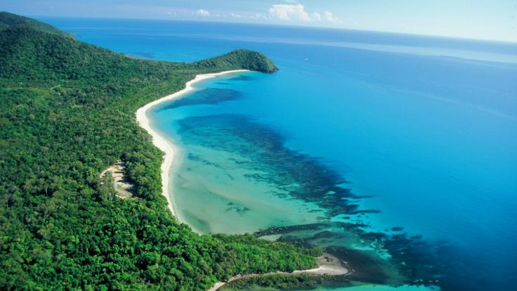 Aerial view of Cape Tribulation Beach