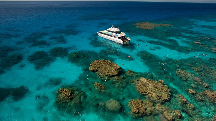 Aerial view of Great Barrier Reef tour boat - Cairns