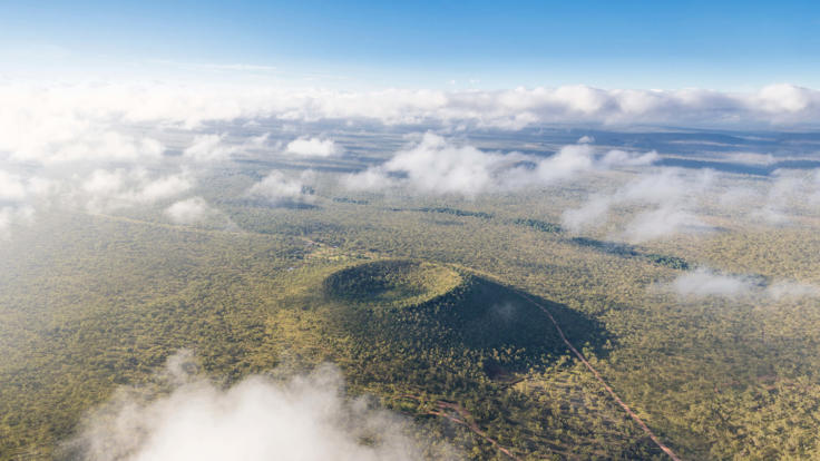 Aerial view of Kalkani Volcano Crater