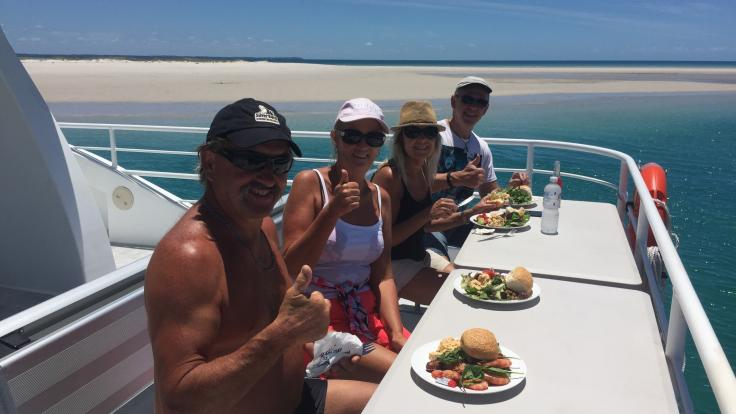 Enjoy your meal and beverages with the whales in Hervey Bay