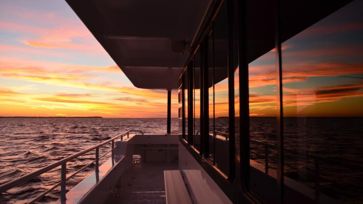Stunning views from extra wide viewing decks on your Hervey Bay Sunset Cruise