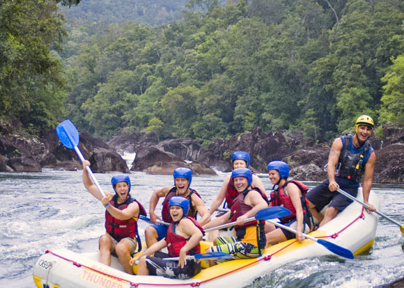Barron River white water rafting going down the falls in Cairns