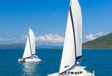 Aerial View of our 2 luxury private charter yachts in the Whitsundays - Specialising in Couples only sailing tours