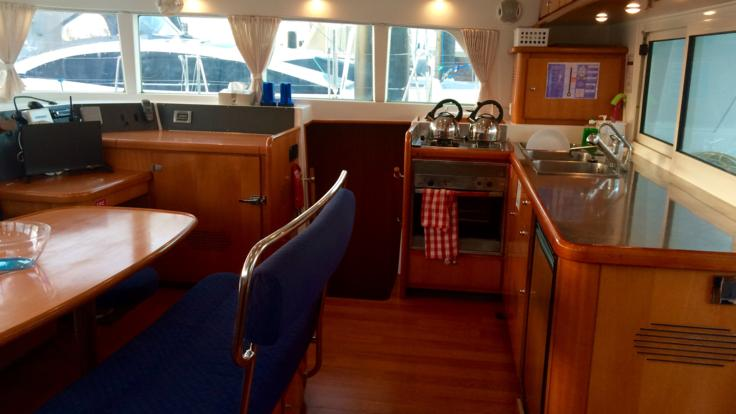 Interior view of our catamaran for our Whitsundays Private Charter Sailing Tours for Couples Only