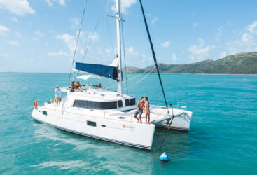 Aerial view of luxury private charter yachts in the Whitsundays - Specialising in Couples only sailing tours