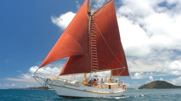 Tallship under sail in the Whitsundays - Great Barrier Reef - Private Charter Boat