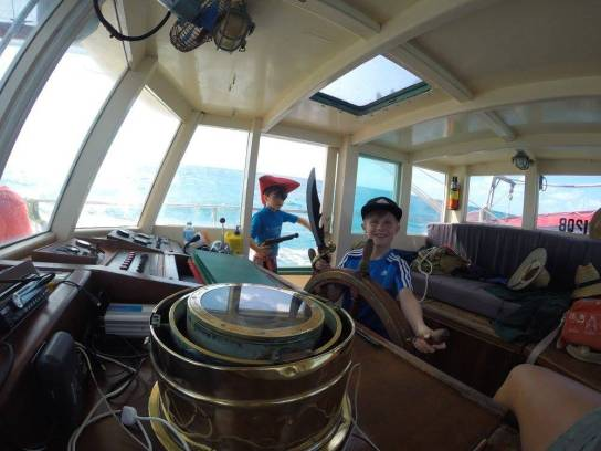 Young children love to play pirates on our tall ship in the Whitsundays
