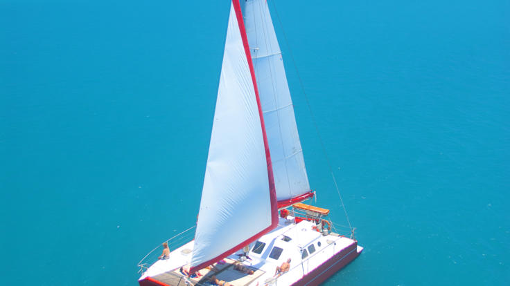 Aerial view of the Whitsundays 2 day 2 night Sailing boat