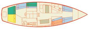 Layout of Whitsunday sailing boat
