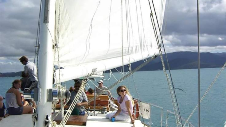 On the deck of Whitsunday sailing boat