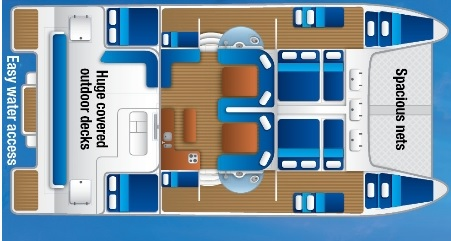 View of sailing boats internal cabin layout - Whitsundays Liveaboard Sail and Snorkel Tour