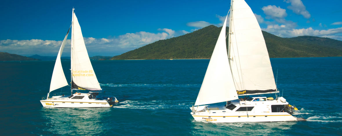 Aerial view of the sister ship snorkel tour yachts in the Whitsunday Islands