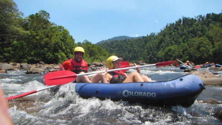 Rafting the white water rapids on the wild Tully River Mission Beach