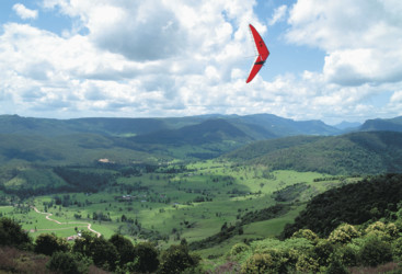 Hang-gliding over Pioneer Valley, Mackay Region