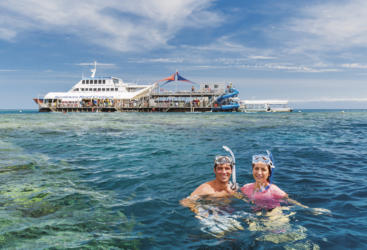 Couple on Snorkel Tour Great Barrier Reef in Australia