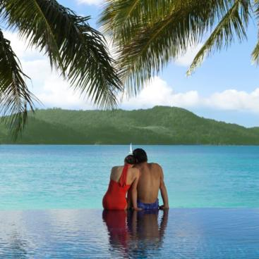 Enjoy a Romantic Getaway at Beach Club Hamilton Island with exclusive Adults Only wet edge Swimming Pool (Heated in winter) with stunning Ocean Views