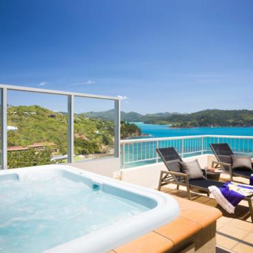 Amazing views from a terrace spa suite at Hamilton Island