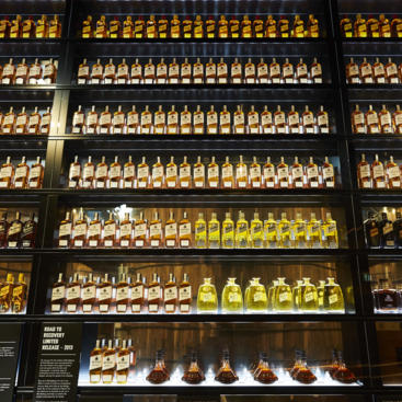 A wall of Bundaberg Rum at the distillery