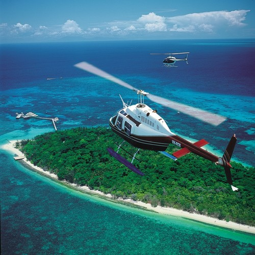 Helicopter Flight Over The Great Barrier Reef | Green Island