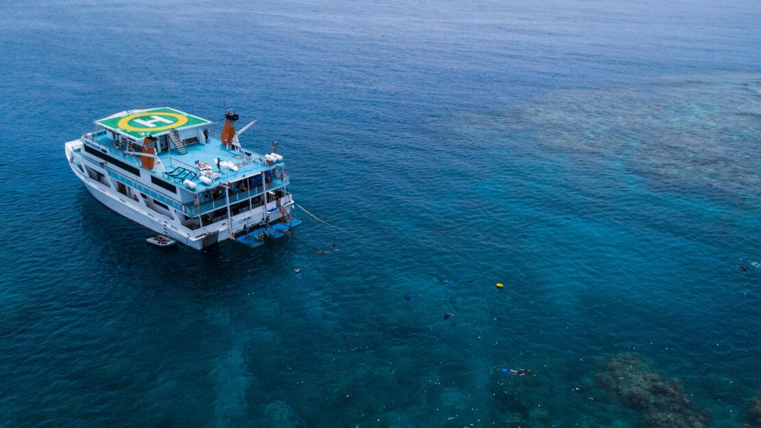 Barrier Reef Australia: Aerial view of dive boat on the Great Barrier Reef