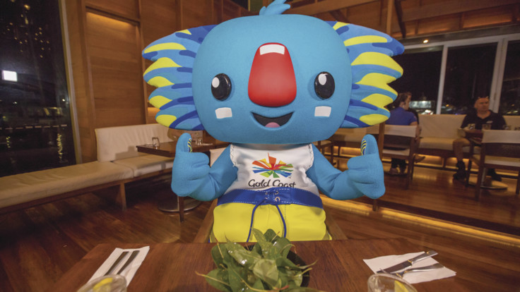 GC2018 mascot, Borobi, gets set for a feast at Salt House, Cairns
